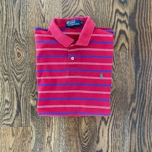 Men's Red and Blue Stripe Ralph's Lauren Polo